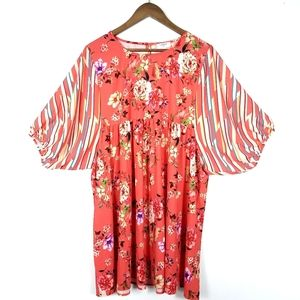 Umgee Coral Floral Dress With Striped Sleeves